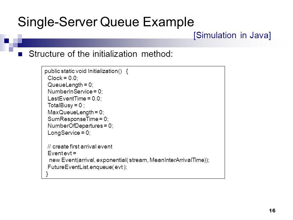 single server queue simulation in java